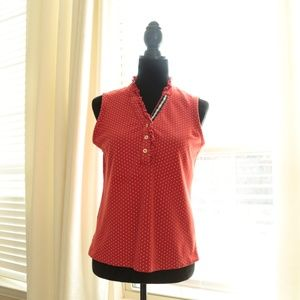 Lands End Red & White Polka Dot Sleeveless Top in…